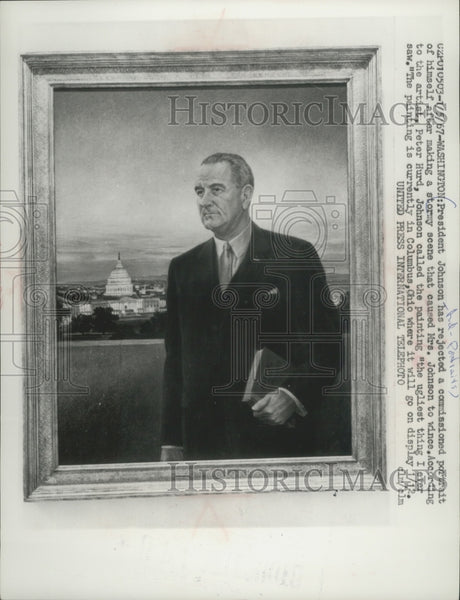 1967 Press Photo Rejected Portrait of President Lyndon Johnson - Historic Images