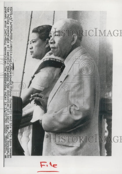 1955 Press Photo Prince Surambrit and wife, Phnom Penh, Cambodia - mjx51645 - Historic Images
