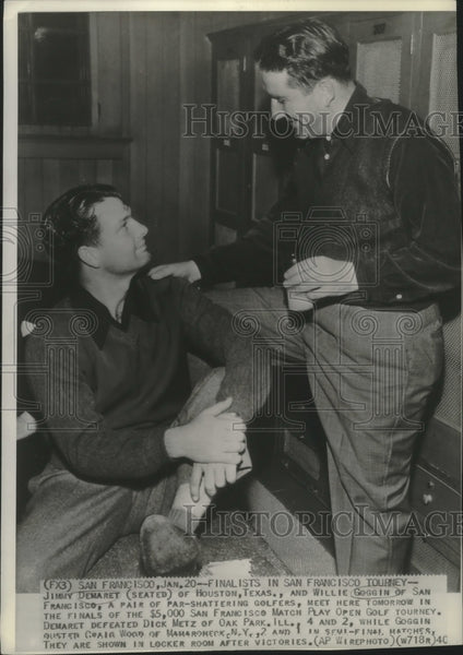 1940 Press Photo Golfers Jimmy Demaret & Willie Goggin talking in San Francisco - Historic Images
