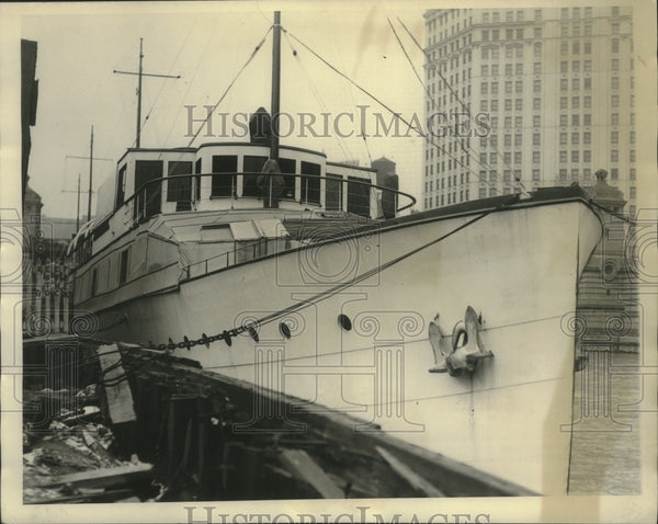 1935 Press Photo Frederick Mandel's Yacht docked in harbor - mjx54438 - Historic Images
