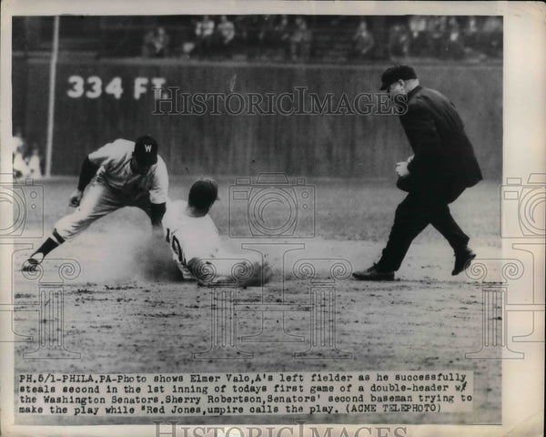 1949 A's Elmer Valo vs Senators Sherry Robinson - Historic Images