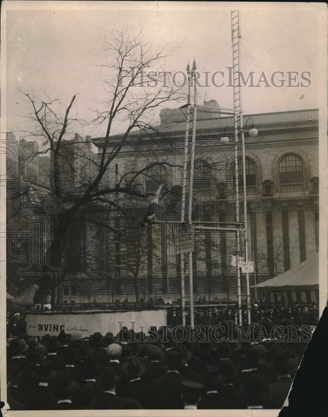 1918 Diver Performs For Crowd At Bryant Park, NY - Historic Images