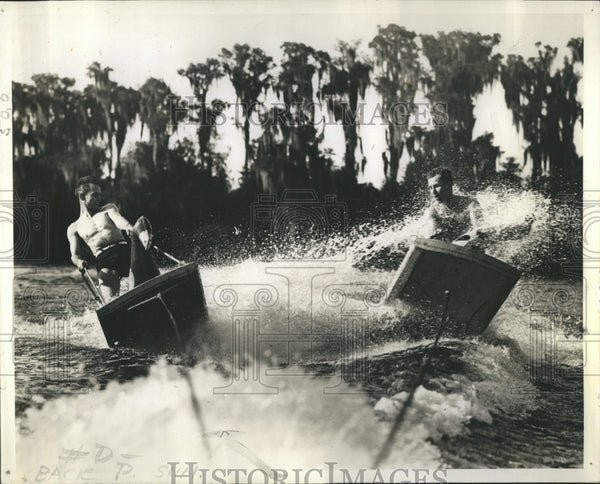 1938 Florida surfers Bob Eastman Carl Brice - Historic Images
