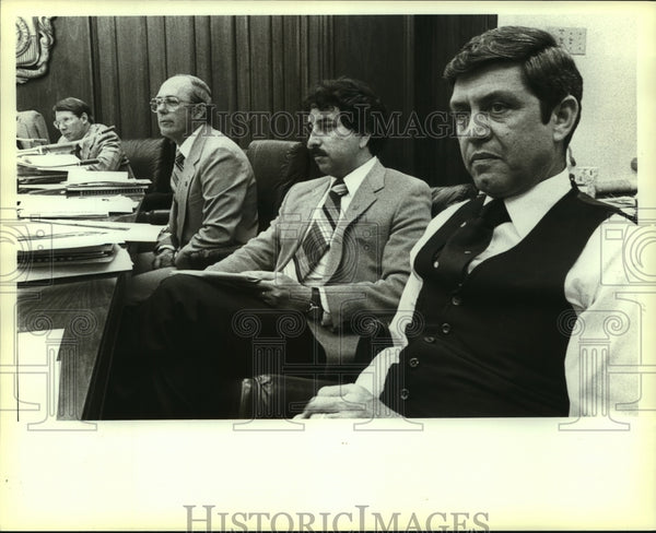 1983 Press Photo Joe Alderete with Others at City Council Meeting - saa00380 - Historic Images