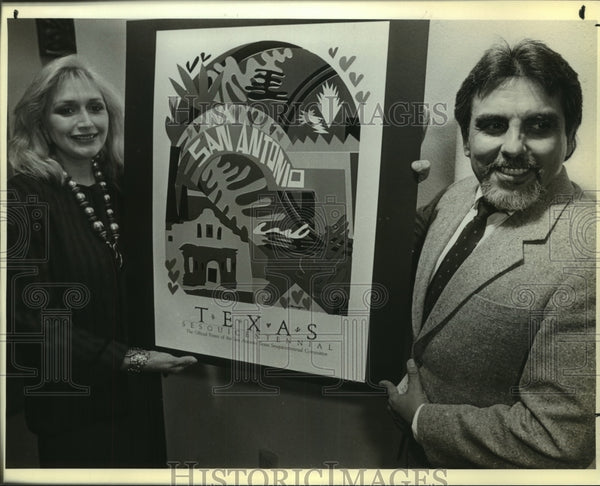 1985 Press Photo Jesse and Maggie Almazan with commemorative poster - saa01063 - Historic Images