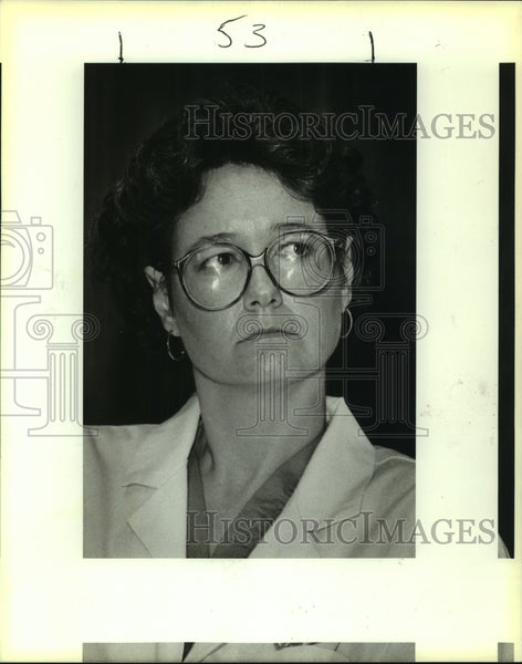 1987 Press Photo Dr. Deborah K. Adcock, Lung/Heart Transplant, Med Center - Historic Images