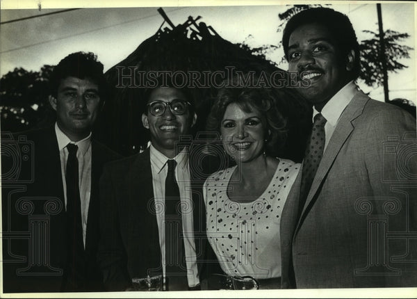 1987 Press Photo Reception for Luis and Danny Valdez attendees - saa01377 - Historic Images