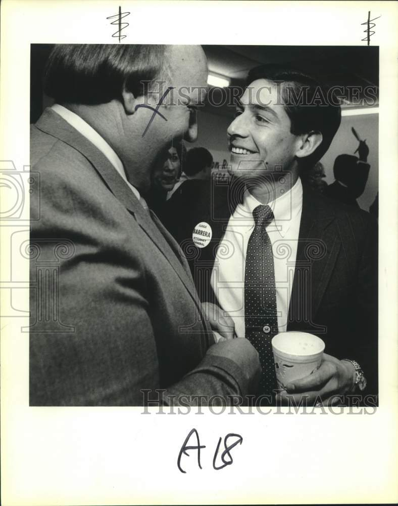 1986 Press Photo Attorney general candidate Roy Barrera Jr. and Ken Hudson - Historic Images