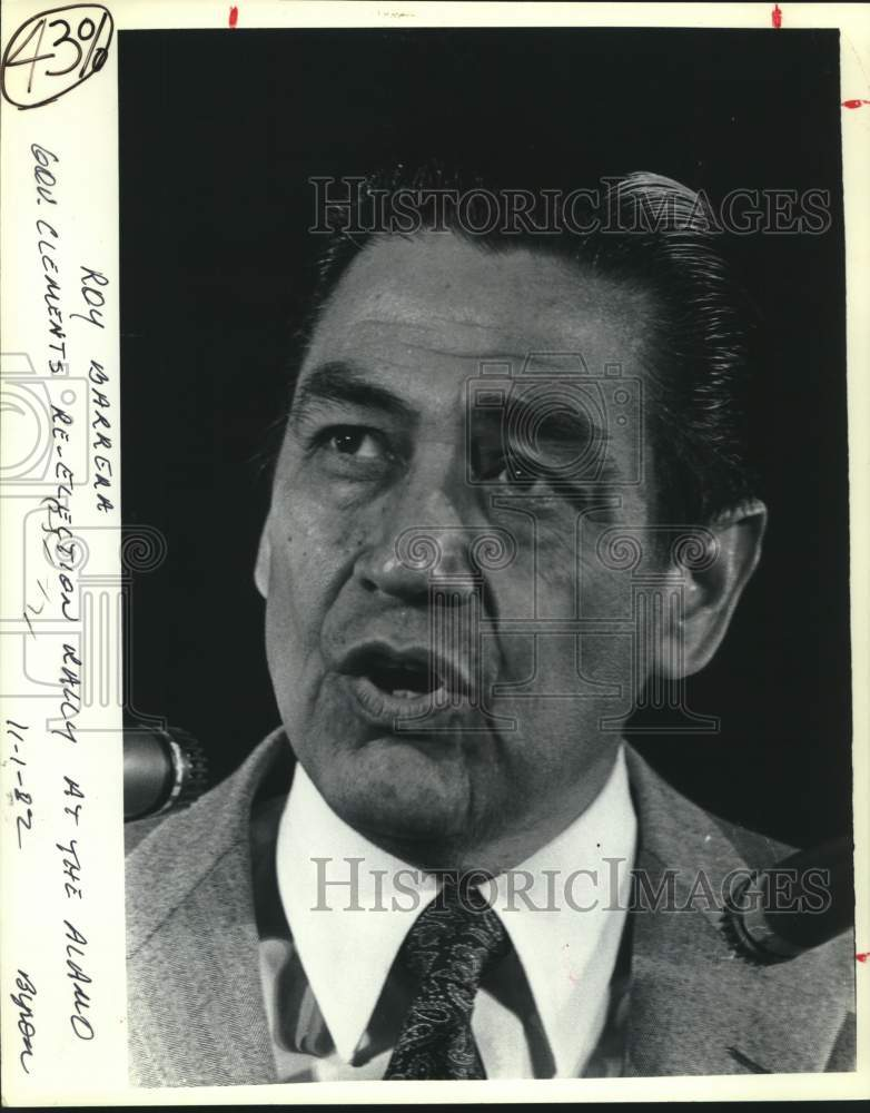 1982 Press Photo Roy Barrera at a Bill Clements election rally at the Alamo - Historic Images