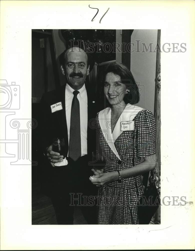 1980 Press Photo Gary Boren and Margaret Goss at Club Giraud reception - Historic Images