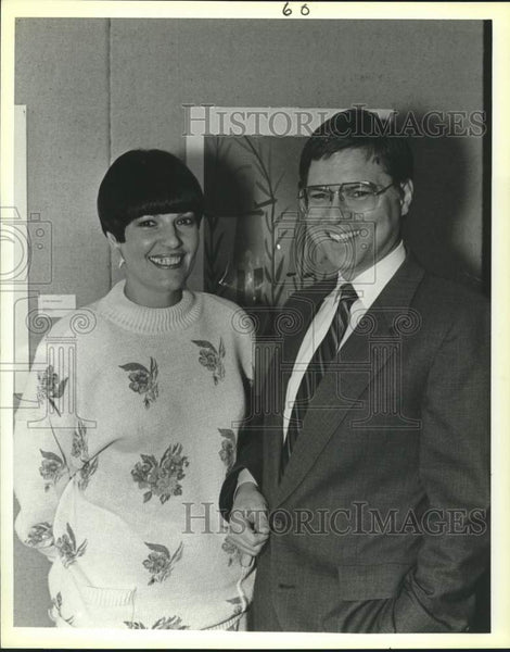 1988 Press Photo Dr. Ardow Ameduri and Maria Cossio at Guadalupe Art exhibition - Historic Images