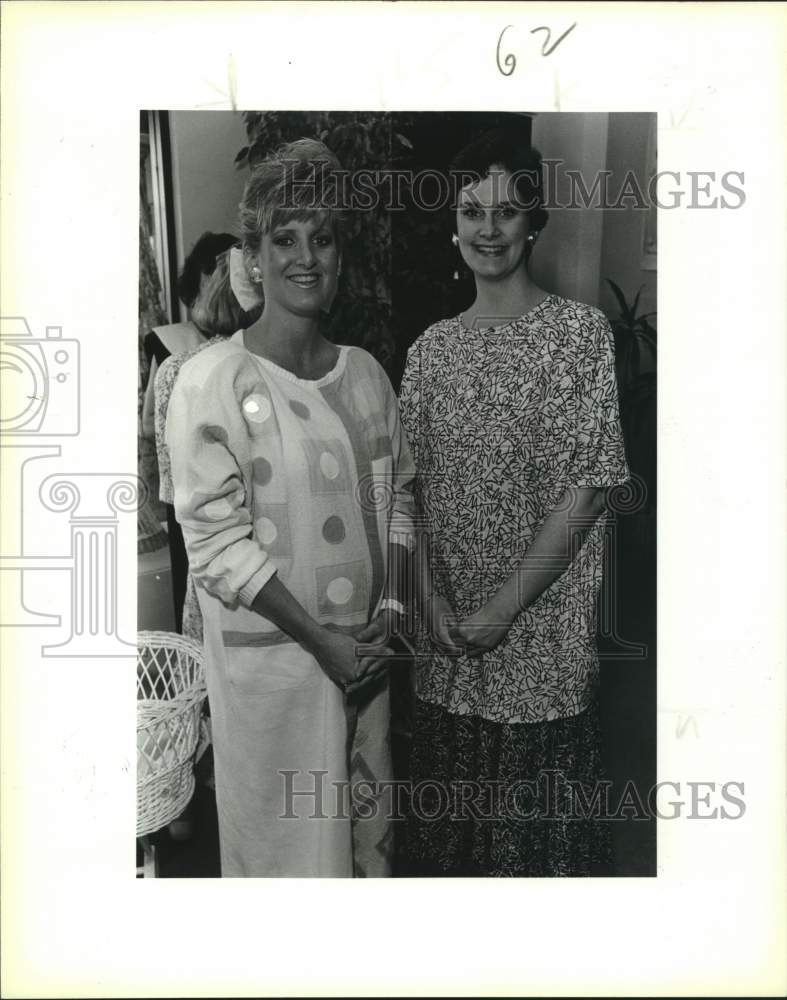 1987 Press Photo Lisa Lucas and Alison Boone, Prelude Designer Maternity - Historic Images