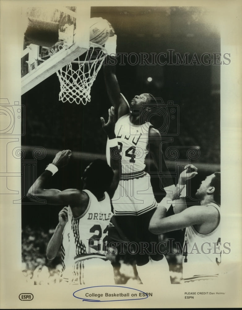 Press Photo Louisiana State University College Basketball Players at Game - Historic Images