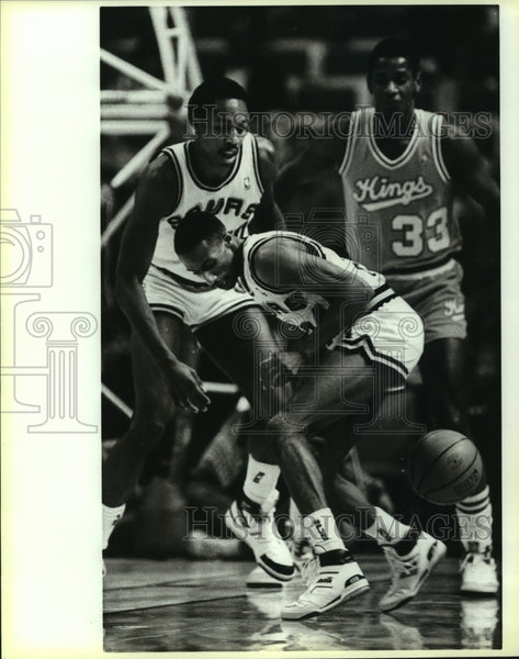 1987 Press Photo Johnny Dawkins, San Antonio Spurs Basketball Player at Game - Historic Images