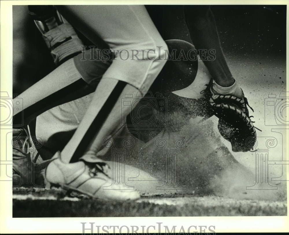 1989 Press Photo Lee and Madison high schools play prep baseball - sas07812 - Historic Images