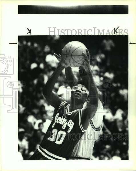 1991 Press Photo John Jay and Miller play boys high school basketball - Historic Images