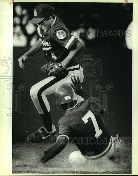 1986 Press Photo Madison and Roosevelt play high school baseball - sas10220 - Historic Images