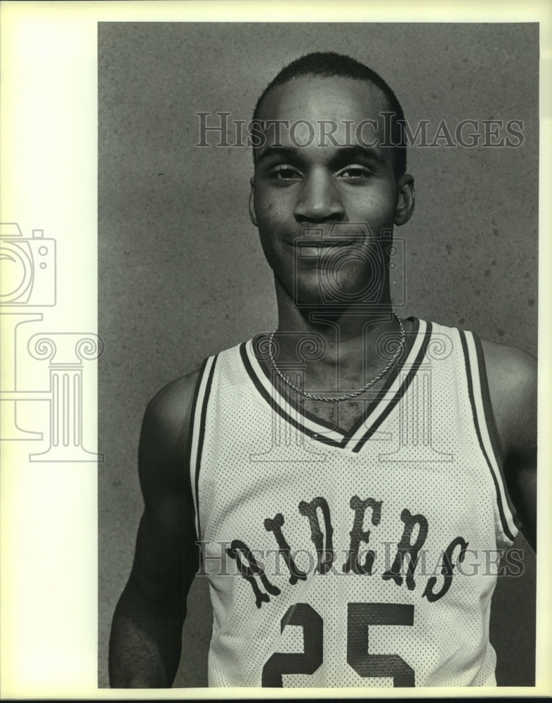 1985 Press Photo Roosevelt High basketball player Ed Mills - sas10266 - Historic Images