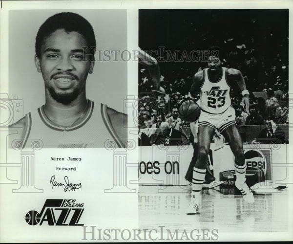 Press Photo Aaron James, New Orleans Jazz Forward Basketball Player at Game - Historic Images