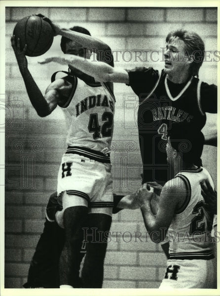 1992 Press Photo Harlandale and San Marcos High School Basketball Players - Historic Images
