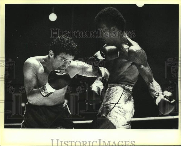 1984 Press Photo Boxers Aaron Lopez and Hector Cortez during a bout - sas13952 - Historic Images