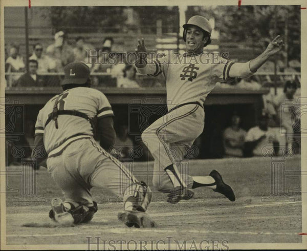 1975 Press Photo San Antonio Brewers and Lafayette play minor league baseball - Historic Images
