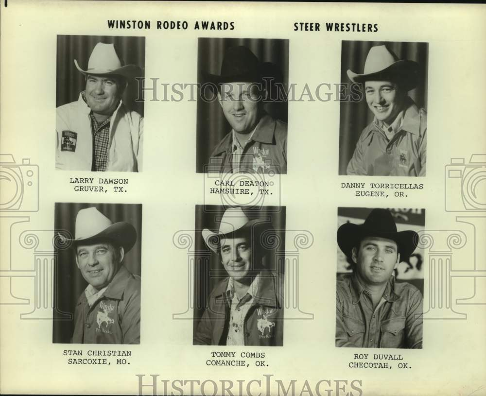 Press Photo Winston Rodeo Awards, steer wrestlers - sas14768 - Historic Images