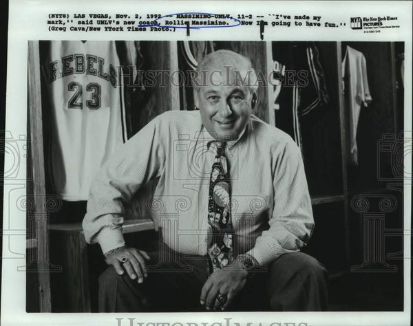 1992 Press Photo UNLV college basketball coach Rollie Massimino - sas14880 - Historic Images