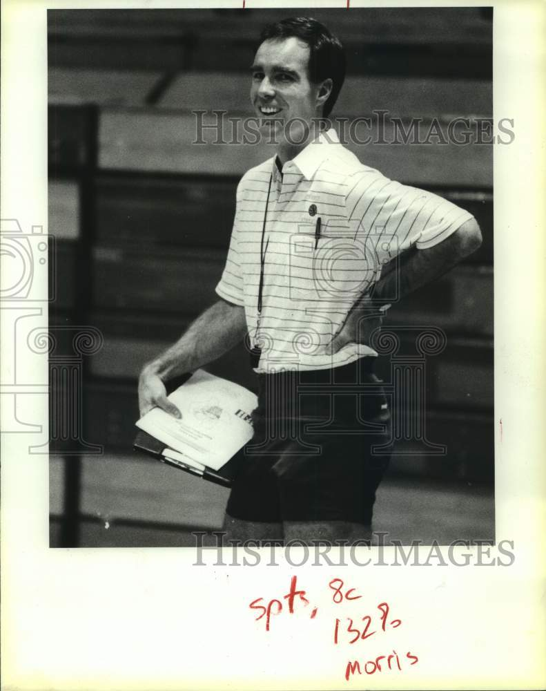 1987 Press Photo Clemens High basketball coach Steve Morris - sas14971 - Historic Images