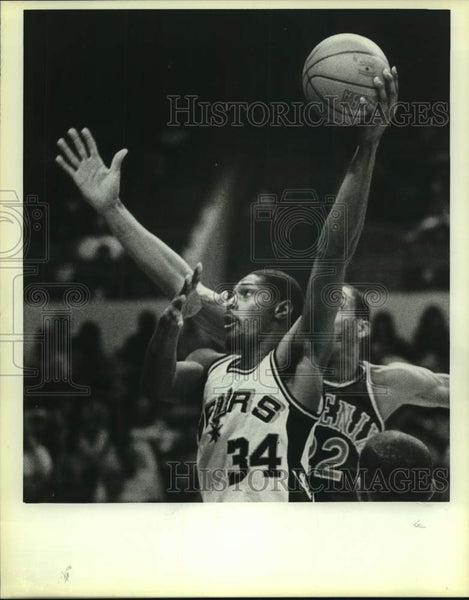 1985 Press Photo San Antonio Spurs and Phoenix Suns play NBA basketball - Historic Images