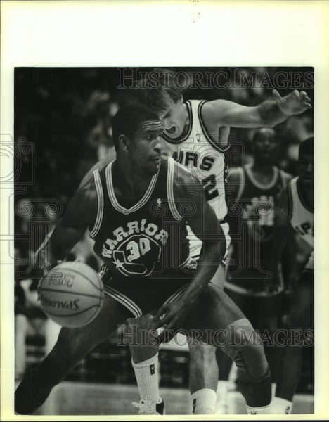 1987 Press Photo San Antonio Spurs and Golden State Warriors play NBA basketball - Historic Images