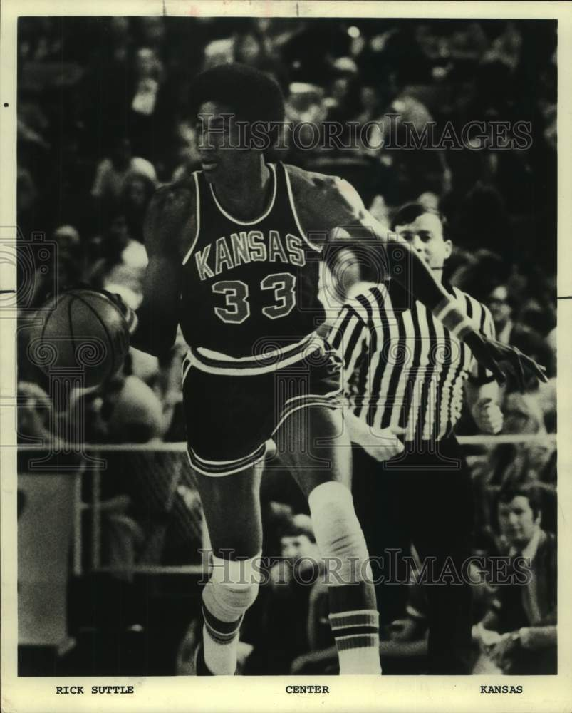 1975 Press Photo San Antonio Spurs center Rick Suttle playing for Kansas - Historic Images