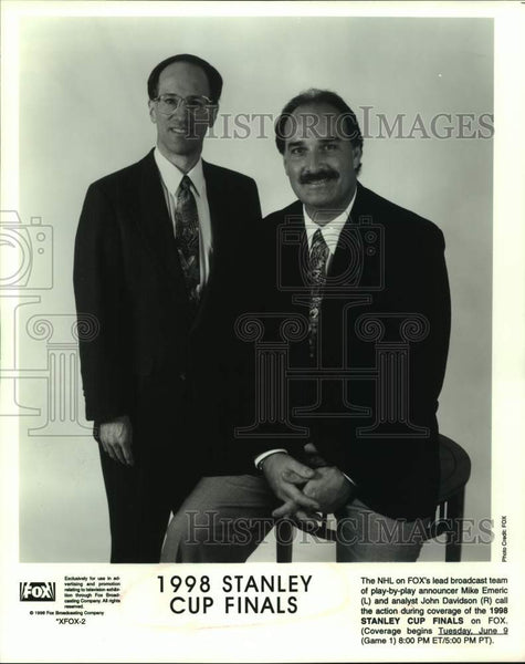 1998 Press Photo NHL on Fox hockey broadcasters Mike Emeric and John Davidson - Historic Images