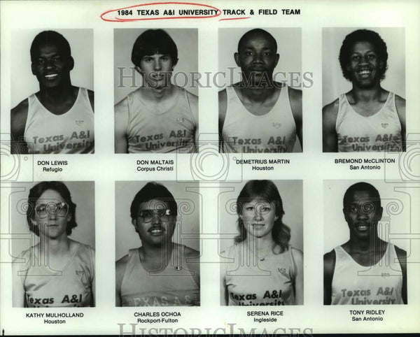 1984 Press Photo Texas A&I track and field mug shots - sas15573 - Historic Images