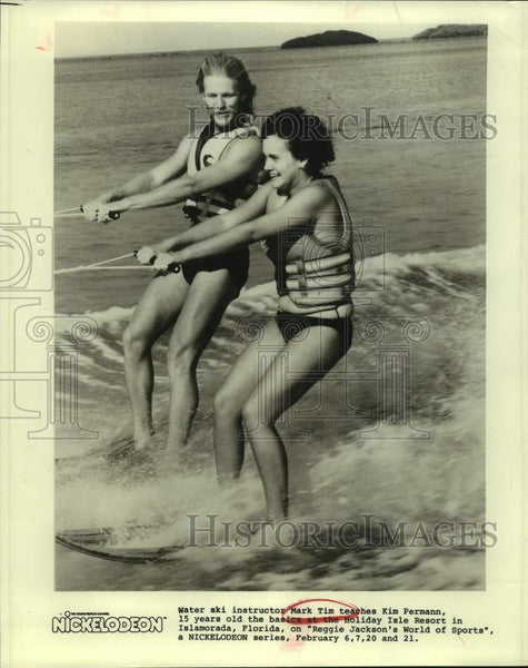 Press Photo Water ski instructor Mark Tim with student Kim Permann - sas15790 - Historic Images
