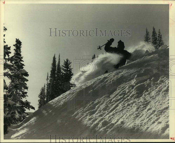 Press Photo A skier makes his way downhill - sas15931 - Historic Images
