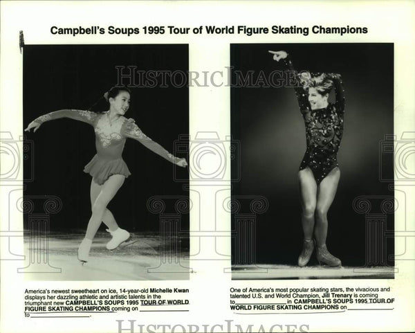 1995 Press Photo Figure skaters Michelle Kwan and Jill Trenary - sas15982 - Historic Images