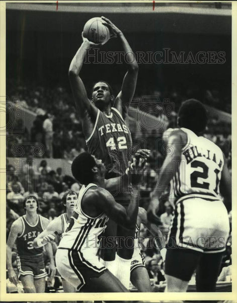 1980 Press Photo Texas and Arkansas play college basketball - sas16123 - Historic Images