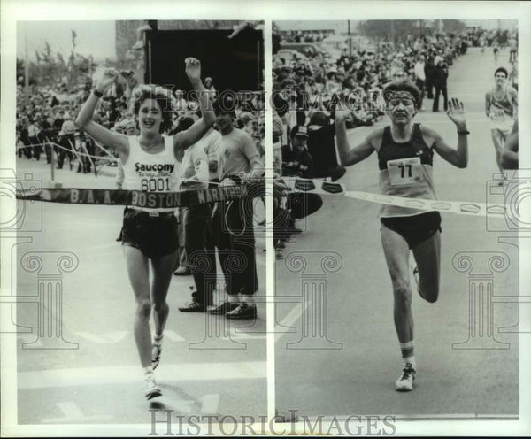 1986 Press Photo Boston Marathoners Lisa Larsen Weidenbach & Ingrid Kristiansen - Historic Images