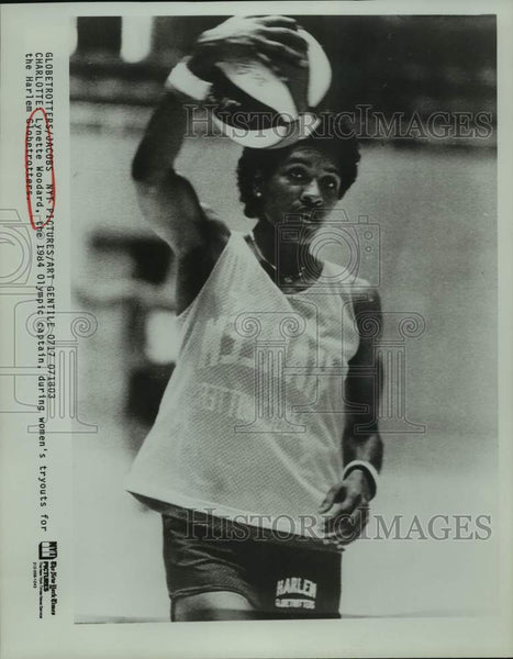 1984 Press Photo Basketball player Lynette Woodard at Halem Globetrotter tryouts - Historic Images