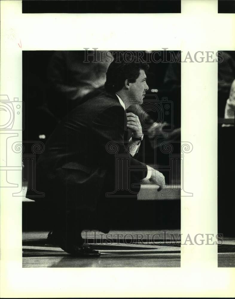 1993 Press Photo Southwest Texas college basketball coach Jim Wooldridge - Historic Images