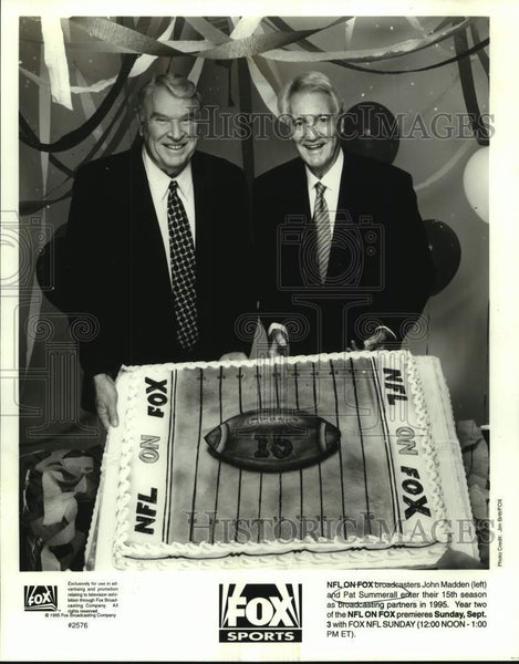 1995 Press Photo Fox NFL broadcasters John Madden and Pat Summerall - sas16640 - Historic Images