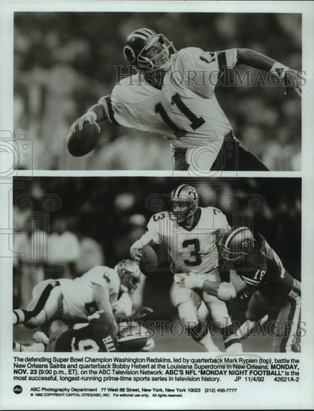 1992 Press Photo NFL football quarterbacks Mark Rypien and Bobby Hebert - Historic Images