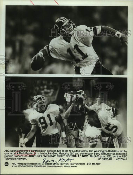 1989 Press Photo Washington Redskins players to appear on Monday Night Football - Historic Images