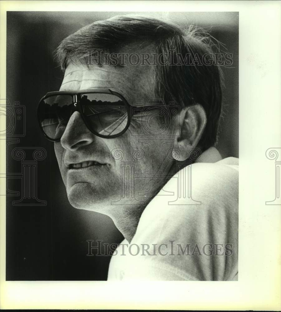 1987 Press Photo Trinity college tennis coach Butch Newman - sas16860 - Historic Images