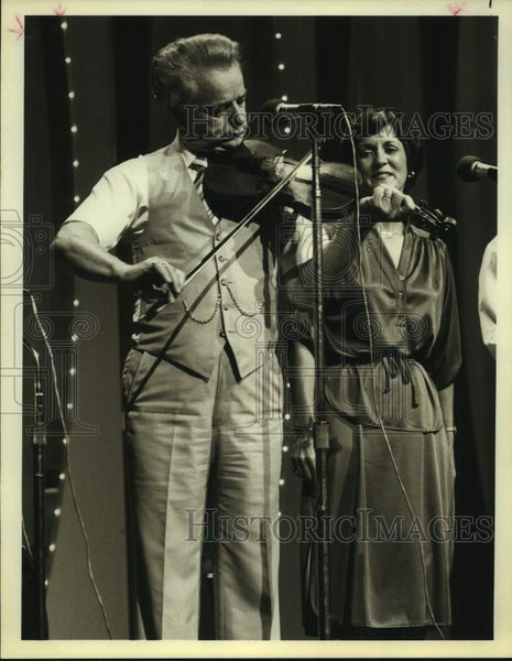 1979 Press Photo Country musicians Senator Robert Byrd and Bonnie Gillam - Historic Images