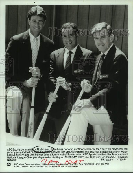 1988 Press Photo ABC baseball broadcasters Al Michaels, Tim McCarver, Jim Palmer - Historic Images