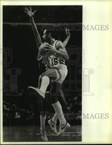 1984 Press Photo San Antonio Spurs basketball player John Lucas vs. Warriors - Historic Images