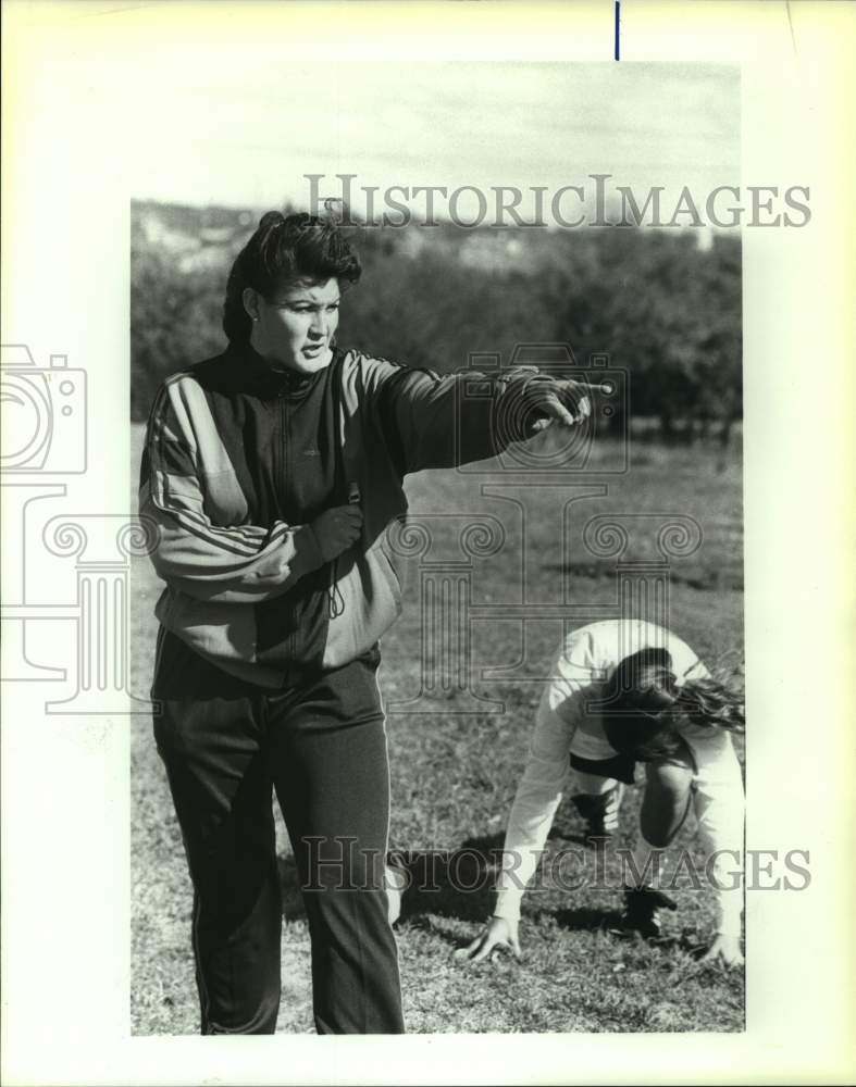 1990 Press Photo Clark High soccer coach Liz Sandoval - sas16999 - Historic Images