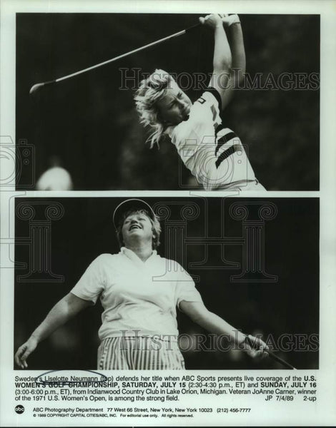 1989 Press Photo Pro golfers Liselotte Neumann and JoAnne Carner - sas17015 - Historic Images